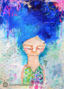 Nymphea, mixed media painting by Nolwenn Barre Petitbois
