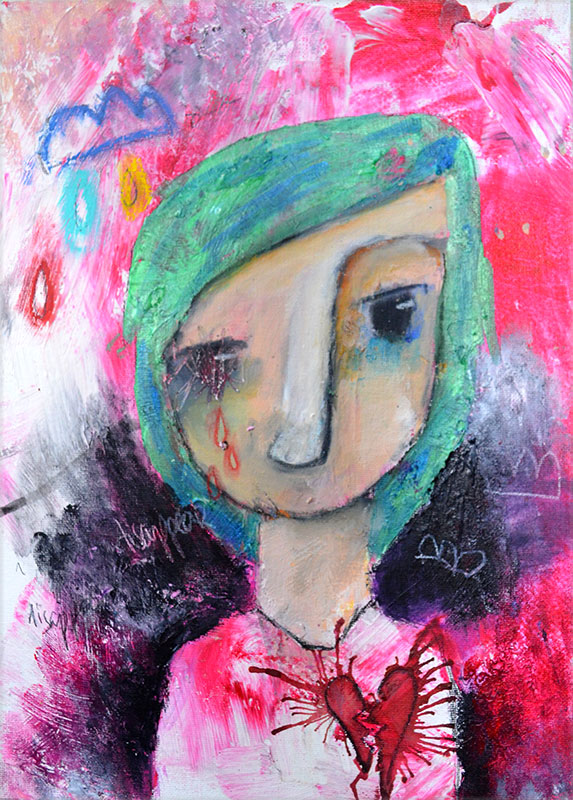 Deirdre, mixed media painting by Nolwenn Barre Petitbois