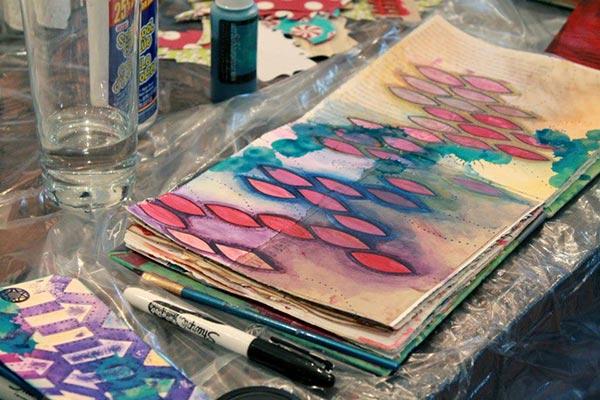 Art Journaling in progress - photo courtesy of Melissa Peacock