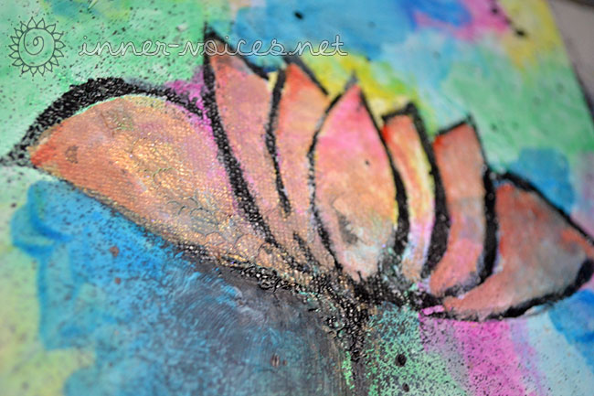 Lotus mixed media painting by Nolwenn Petitbois