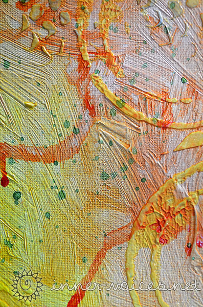 Mixed Media peacock painting close-up, by Nolwenn Barre Petitbois