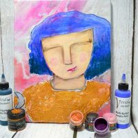 Goldie, a Nixie created on a poured background, a new {Painting In Motion} video