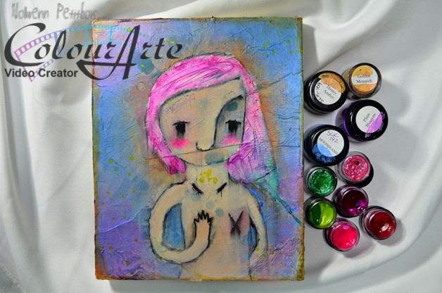 {Painting In Motion} Whimsical mixed media portrait for Pink October, with ColourArte paints