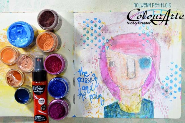 The Passion and the Pain, new art journaling page video project for ColourArte