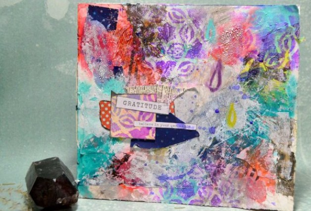 New mixed media art journaling video: Gratitude